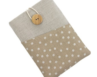 Kindle Paperwhite fabric case, Kindle Touch case, Kindle Fire sleeve, Kobo Aura pouch, Kobo Glo case, Kobo Touch sleeve, white dots / beije
