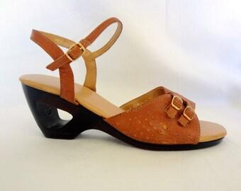 70s Tan Leather Wedges Size 7 - Boho, Gypsy, Festival, Hippie