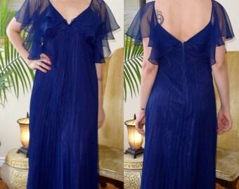 70s Navy Blue Formal Dress - Prom, Bridesmaid - Small Medium Large