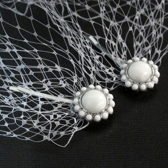 White Bandeau Style Veil Bridal Blusher 8 inches French Net ends with two pearls bobby pins.