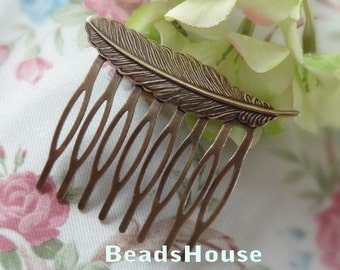 4pcs  Antique Bronze Plated Brass Feather Filigree Hair Comb Setting-8Pins NICKEL FREE