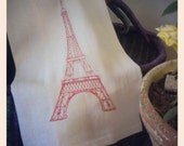 Eiffel Tower Paris Is On My Mind Red stitching with White Cloth By InYourBones