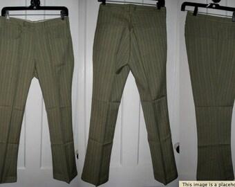Vintage 1960's Lee Fastbacks Deadstock PinStripe Bell Bottom Flare Jeans Pants Slacks 30X29 Floods