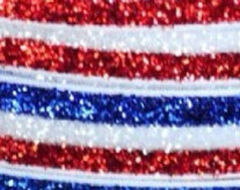 "SALE-- Glitter Elastic- 5/8""-- 5 yards   Red/White/Blue"