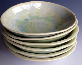 dessert bowls, organic, stoneware dessert bowls,set of six, custom dinnerware by Leslie Freeman