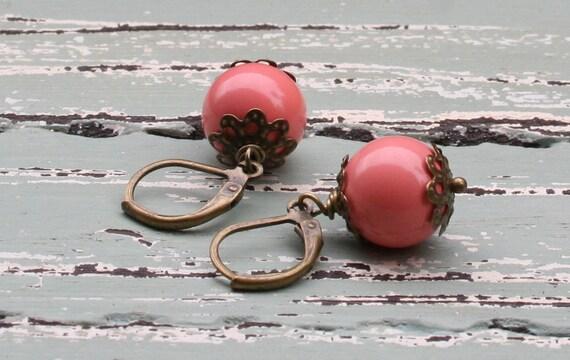 Pink Earrings / Earthy Rustic Earrings / Peach Earrings / Brass Earrings / Dangle Earrings / Missie Rabdau