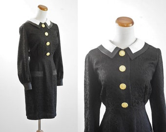 Vintage Black Bow Dress, Collared Dress, Gold Buttons Dress, Preppy Dress, Long Sleeve Dress, Bust 38, Black and White Dress, Medium Large