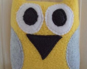 Yellow and Gray Plush Owl Pillow - Yellow and Grey Owl - Owl Plushie - Stuffed Owl