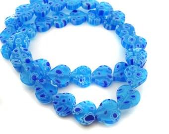 Light Blue Heart Millefiori Beads - CG92