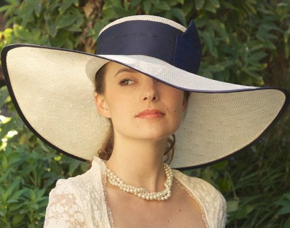 Navy Hat, Wide Brim Hat, Wedding Hat, Derby Hat. Cream & Navy Hat, Church Hat,  Ascot Hat, Garden Party Hat, Dressy Hat, Formal Hat