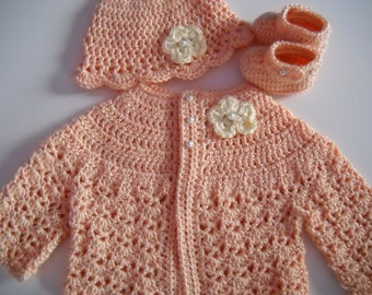 Crochet Baby Sweater Hat Booties Set Peach 3 to 6 months