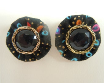 SALE - Black Abstract Dot  Button Earrings