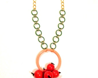 Cherries Tart - Wood Acrylic Beads Statement Summer Necklace