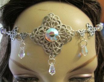Swarovski Crystal Circlet of the Frozen Magic Elven Celtic Druid LARP Bridal Priestess