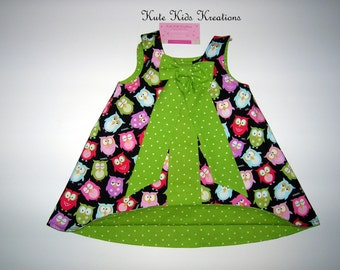 Owl A-line Dress, Reversible, Sizes 0-3M to 12M, Made to Order