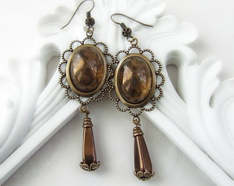 Potnia - The Bronze Goddess of the Labyrinth Vintage Filigree czech glass earrings