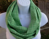 SUMMER SCARF Infinity Loop Green & Off-White Cream Plaid 100% Cotton Fabric, Soft Lightweight Circle Endless Eternity Cowl..Ready to Ship