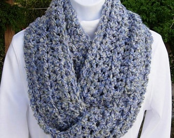 COWL SCARF Infinity Loop Gray Grey & Lavender Purple Soft Handmade Crochet Knit Winter Circle Wrap, Neck Warmer..Ready to Ship in 3 Days