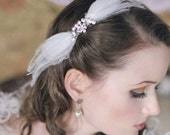 STARLET Rhinestone Pearl and Feather Bridal Comb