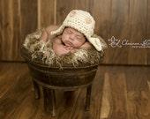 AVIATOR Bomber Hat Newborn Baby Photo Prop Cream