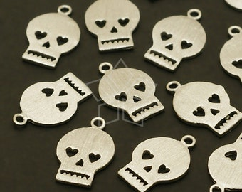 PD-501-OR / 4 Pcs - Heart Skull Charm Pendants, Silver Plated over Brass / 8mm x 12mm