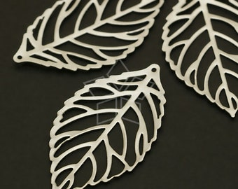 AC-491-MS / 4 Pcs - Silver Leaf Pendant (Large Size), Matte Silver Plated over Brass / 20mm x 35mm
