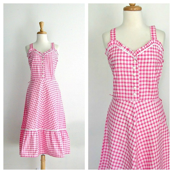 Vintage Gingham Sundress / 1970s Dress / Plaid By