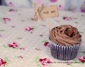 eat me Cupcake Toppers - kraft with rustic twine bows - set of 10