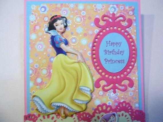 princess snow white birthday handmade card