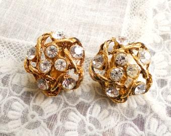 Vintage Woven Gold Clear Rhinestone Clip On Earrings