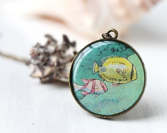 Tropical Fish Art Pendant Necklace Vintage Art, Yellow, Blue Teal and Pink Colorful Aquatic Salt Water Fish Coral Reef Nautical for Summer
