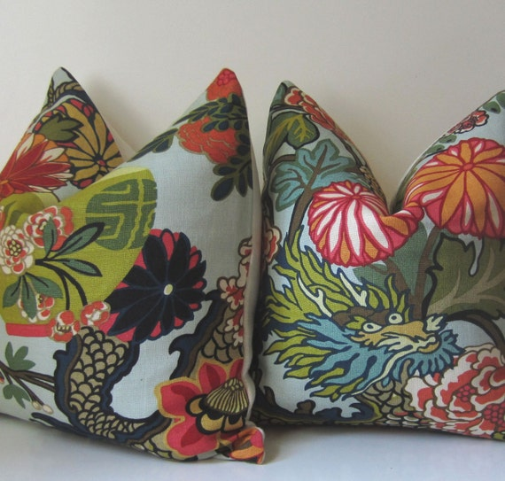 Set of Two - Chiang Mai Dragon - Decorative pillow Covers - 20 inch by Schumacher - Aqua - ready to ship