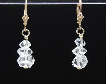Herkimer Diamond earrings / Herkimer Diamond Crystal / Diamond earrings / Quartz earrings / April Birthstone / Crystal earrings