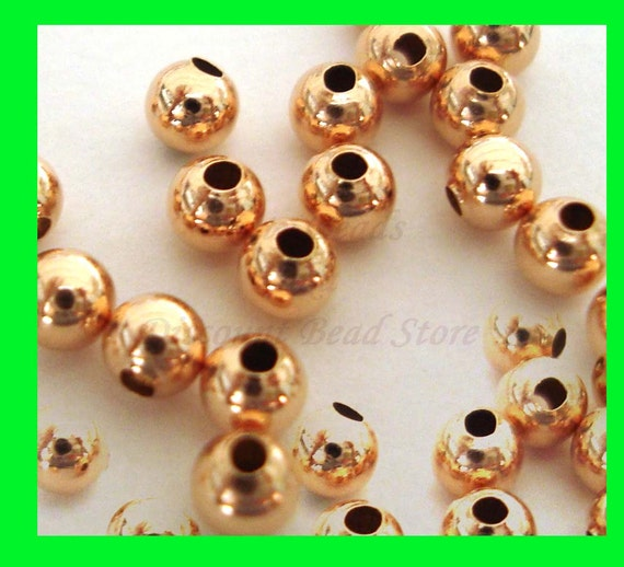 50x 3mm 14k ROSE gold filled plain seamless round bead spacers RB03