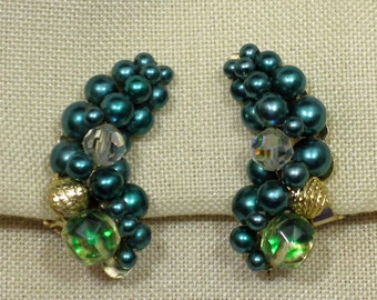Deep Turquoise Hand Beaded Crescent Shaped Clip On Earrings 1960s NEW OLD STOCK cSc 224