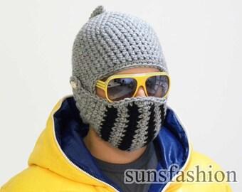 Knight Helmet Boyfriend gift Winter Hat Mens hat Brother gift College student gift Crochet bike mask Winter