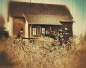 Rustic Farm House Print, 5x5 8x8 Art Photo, Vintage Style Fine Small Art print, Home Decor warm earth brown tones