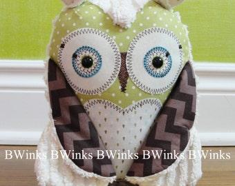 Chevron Owl stuffed Toy - Owl Pillow Nursery Decor - Plush Handmade Original Owl Toy