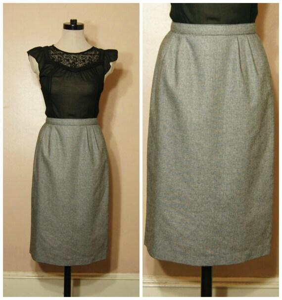 VintageTweed Pencil Skirt High Waist SALE 80s Black and White Small Medium Secretary Mad Men