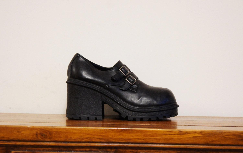 black chunky platform shoes 90s grunge size by