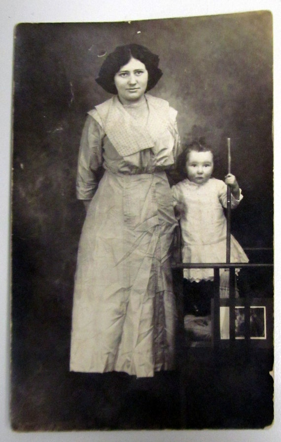 Vintage Photo Postcard Mother & Child with Broom