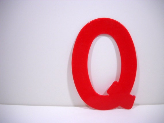 Vintage Marquee Letter Sign Red Q Industrial Typography