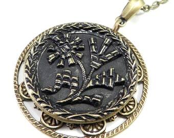 Antique Button Necklace - Black Rose Antique Button Jewelry - Large Coat Button Pendant