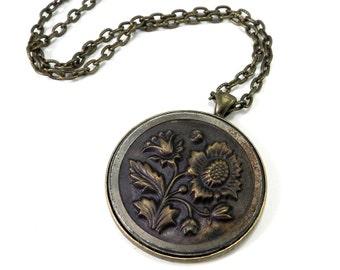 Victorian Jewelry, Victorian Button Necklace - Large Antique Button Necklace, Bronze Bezel - Indigo Bronze Victorian Revival Jewelry