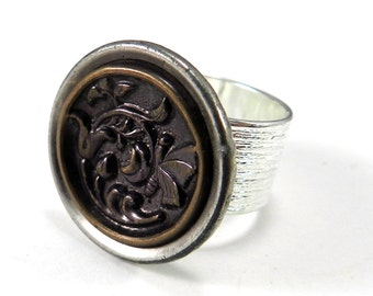 Antique Button Ring, Victorian Jewelry, Spring Garden Butterfly, Vintage Button Jewelry, Silver Plated Ring