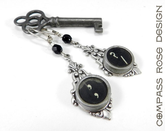 SALE Typewriter Key Earrings, Vintage Typewriter Key Jewelry on Silver Edwardian Filigree by Compass Rose Design