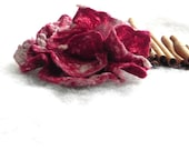Felt women brooch Flower Merino Wool Burgundy and White color combination Original accessory Ready to send - woolDesign