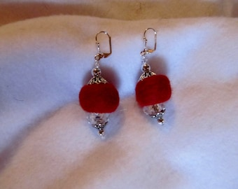 Felted Ball Earrings.....Red and Silver