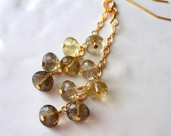 Bio Lemon Smoky Quartz Phantom Quartz Chain Earrings Gold Filled