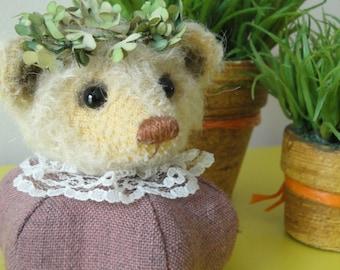 Bear pincushion - purple with laurel wreath